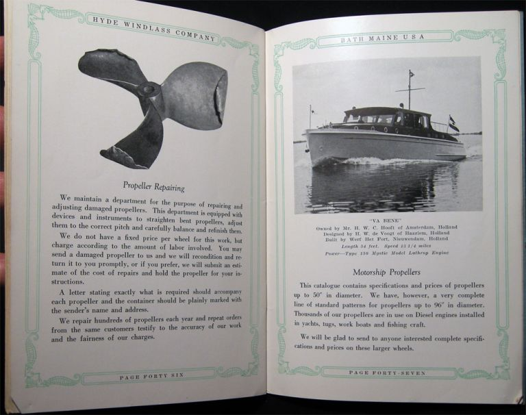 Propeller Efficiency A Catalog Containing Constructive Suggestions for Increasing the Speed, Comfort, and Efficiency of Motor Boats Specifications and Prices of Hyde Propellers and Marine Fittings. Americana - Manufacturing - 20th Century - Marine Hardware - Hyde Windlass Company.