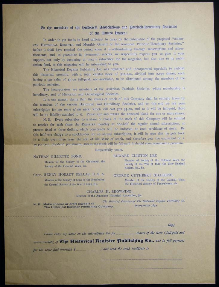 1894 Invitation to the Members of the Historical Associations and Patriotic Hereditary Societies of the United States Stock Offering Circular from The Historical Register Publishing Co. Americana - 19th Century - History of Publishing - The Historical Register Publishing Co.