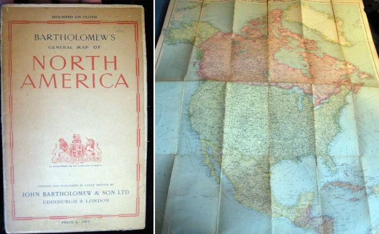 Bartholomew's General Map of North America. North America Map.