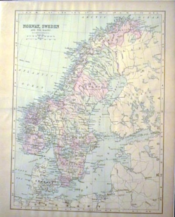 Map of Norway, Sweden and the Baltic. Sweden Norway, the Baltic.