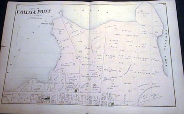 Original Map of Part of College Point Town of Flushing Northern Part Long Island. Beers Atlas.