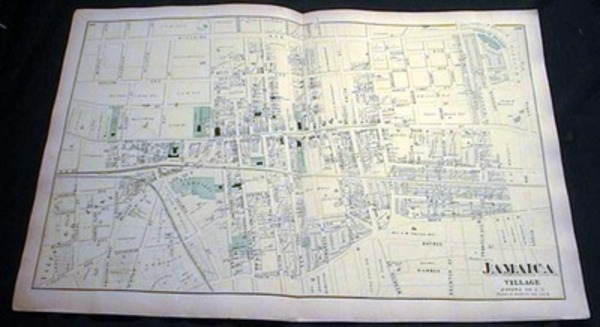 Original Map of Jamaica Village Long Island. Beers Atlas.