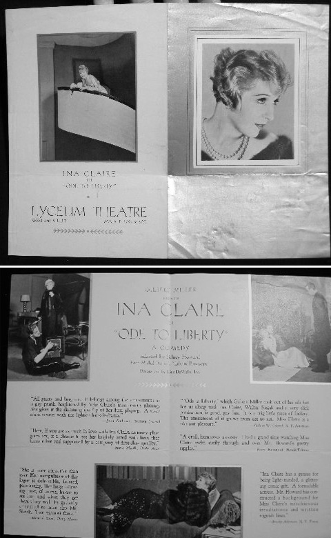 Lyceum Theatre: Gilbert Miller Presents Ina Claire in Ode to Liberty a Comedy Adapted By Sidney Howard from Michel Duran's Liberte Provisoire Program Advertisement. Lyceum Theatre.