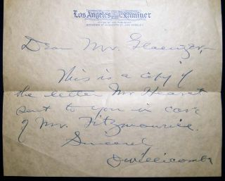 1928 Typed Letter By William Randolph Hearst with Related Materials.