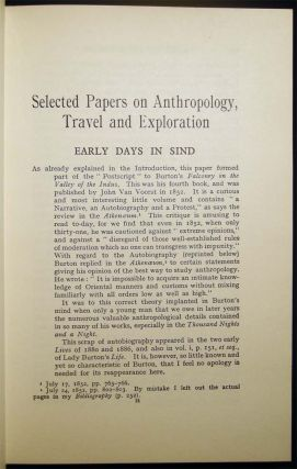 Selected Papers on Anthropology, Travel & Exploration By Sir Richard Burton, K.C.M.G. Now Edited with an Introduction and Occasional Notes By N.M. Penzer
