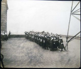 Circa 1915 Group of Photographs Girls School Practicing May Pole and Folk Dancing on Building Rooftop in New York City