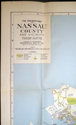 C. 1940s The Premier Street Map of Nassau County Produced Under the Direction of Alexander Gross, F.R.G.S. House Numbers Transit Lines Street Index One-Way Streets Etc.