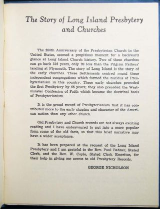 The Story of Long Island Presbytery and Churches Published By the Long Island Presbytery to Commemorate the 250th Anniversary of the Presbyterian Church in the United States May 1956