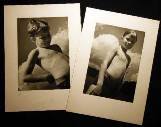 Circa 1950 Two Black and White Photographic Studies of a Young Boy By Imandt. Americana - 20th...