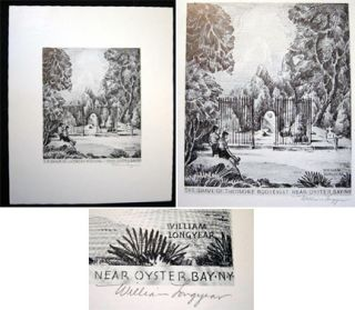 The Grave of Theodore Roosevelt Near Oyster Bay N.Y. Pencil Signed Print By Long Island Artist...