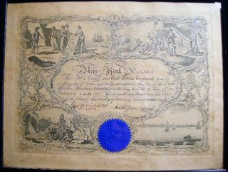 Membership Certificate for the New York Marine Society No. 3305 Issued to Capt. Asmus Leonhard February 8 1897 Framed and Glazed
