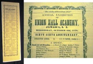 Broadside Announcement for the Annual Exhibition of Union Hall Academy, Jamaica, L.I. Wednesday,...