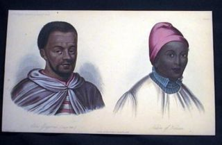 Hand-Colored Lithograph Abbs Gregorius and Native of Haussa. Abbas