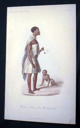 Hand-Colored Lithograph of Woman & Child of the Bushman Race. Bushman