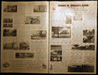 Group of Illustrated Broadsides Depicting Properties, Homes, Farms, Businesses for Sale By John H. Hoagland Realtor with Original Map-Illustrated Mailer Delaware County New York