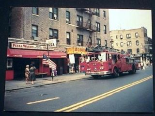 1994 Photograph of Seagrave Tower Ladder Fire Truck 86th Street & 5th Avenue Brooklyn New York....