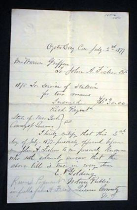 1877 Oyster Bay Long Island Manuscript Document Referring to the Stud Service of a Stallion for...