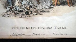 The Multipication table Original Hand Coloured Engraving By William Heath After Smith
