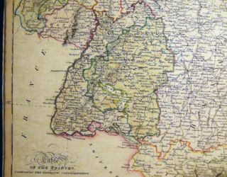 Map of Southern Part of Germany (with) Table of the Princes Comprising the Germanic Confederation