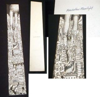 "Original Charles Fazzino Artwork for ""Manhattan Moonlight"", black and White Pen & ink with Wash..."