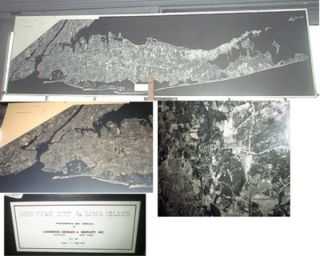 1968 Black and White Panoramic Birds-Eye-View Aerial Map of New York City & Long Island Compiled...