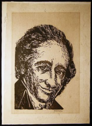 1960 Woodcut Portrait of Bertrand Russell Signed By Antonio Frasconi. Art - 20th Century -...