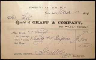1883 Small Document from the Graff & Company New York Manufacturers & Furnace, Range and Heater...