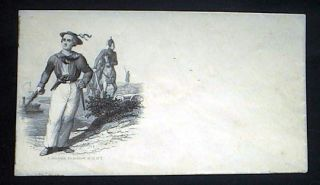 Engraved mailing envelope by C. Magnus, with vignette of armed Naval personnel, cavalry, infantry...