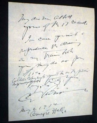 1912 Signed handwritten note by Noted American Graphic Artist Charles Dana Gibson. Charles Dana...