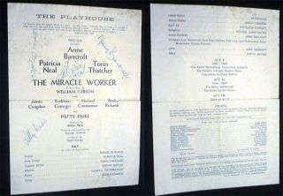 Playbill for The Playhouse Theatre Fred Coe Presents The Miracle Worker Signed By Star Performers...