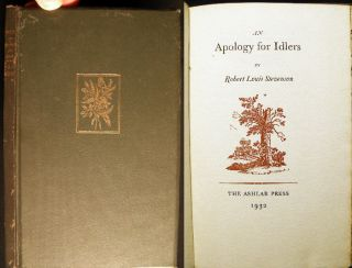 An Apology for Idlers. Robert Louis Stevenson
