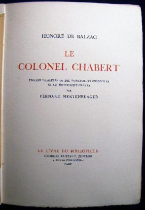 Le Colonel Chabert Edition Illustree De Dix Eaux-Fortes Originales et Un Frontispiece Graves Par Fernand Hertenberger