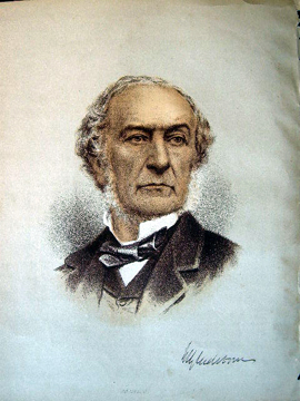 1890 Colour Lithograph Portrait of The Right Hon. W.E. Gladstone. The Right Hon. W. E. Gladstone