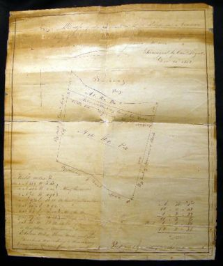 1852 Manuscript Map of Land at Lawrence's Point In Newtown Long Island Sold By Dan.'l Lent to...