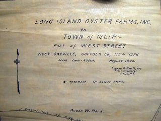 1926 & 1928 Manuscript Maps of Long Island Oyster Farms, Inc. Conveyed to Town of Islip West Sayville, Suffolk Co., N.Y. Two Great South Bay Oyster Bed Conveyance Documents