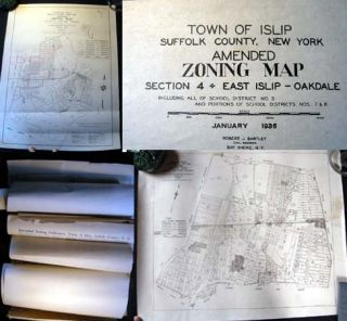 Circa 1930s Collection of Zoning Maps of Islip Long Island. Islip