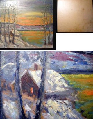 Circa 1930s Impressionist Style Oil on Cardstock Winter Sunset Landscape Scene on Lake. Art