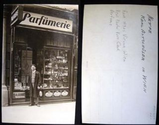 C 1930 Real Photo Postcard of a Parfumerie (Perfume Shop) in Vienna Identified as Neffe (Nephew)...
