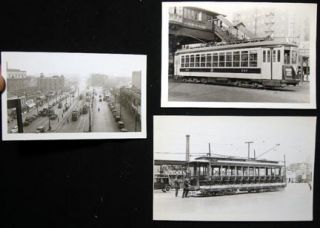 C 1937-49 3 Snapshots of New York City Trolleys: 1937 West Farms from 'L' Station with 7 Cars in...