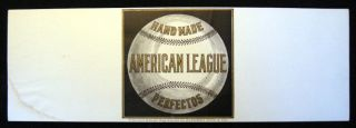 "Early 20th century ""Hand Made American League Perfectos Title and Design By Alfonso Rios & Co.""..."