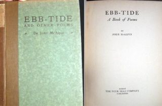 Ebb-Tide A Book of Poems. John McAlpin