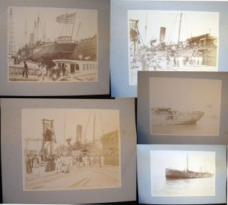 C. 1898 Group of 5 Large-Format Albumen Photographs of the USS Yankee - Portside and Underway....