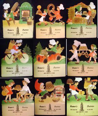 Collection of 19 Colored Pressed & Die-Cut Souvenir Boards from Kramer's German Bakery Pastries...