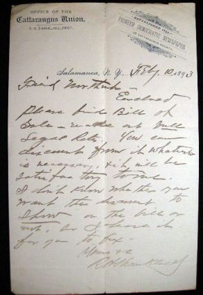 February 10, 1893 Autograph Letter Signed on Cattaraugus Union Newspaper Letterhead By R.H....