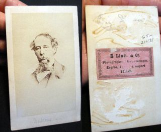 Carte-de-Visite Portrait of Charles Dickens By E. Linde & Co. Berlin. Charles Dickens