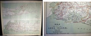 Map of Long Island, East Part & West Part. Long Island - Map