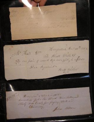 1850s Receipts for Business in Hempstead Long Island. Manuscript Americana - Business History -...