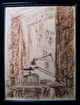 """A View From His Window,"" Original Ink Marker on Paper By French Artist Claude Remusat Signed and..."