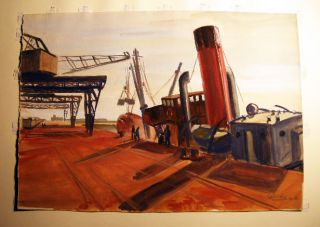 """Granville"" (dockside) Original Watercolor on Paper, Titled, Signed and Dated By Claude Remusat...."