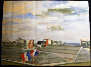 """Paris 1946"" (Roofs) Original Watercolor Inscribed Dated and Signed By Claude Remusat. Art - 20th..."